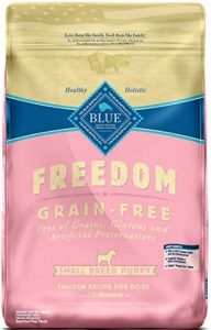 Product photo: Blue Buffalo Freedom Grain Free Small Breed Puppy Food. Click to check price.