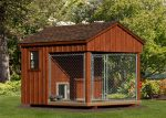 a huge wood cabin style dog house installed with dog house heater
