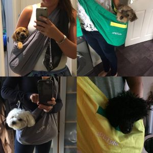 different photos showing how dog slings are used